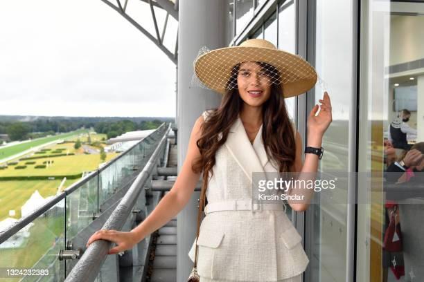 Sarah Ann Macklin poses during Royal Ascot 2021 at Ascot Racecourse on June 18, 2021 in Ascot, England.