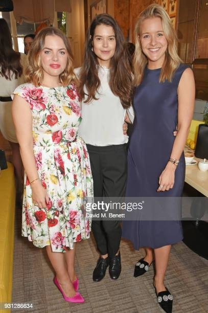 Sarah Ann Macklin poses with Espie Roche cofounders Alexandra RocheHamilton and Hermione Espie Underwood at the Espie Roche launch breakfast at The...