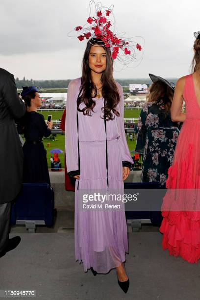 Sarah Ann Macklin, wearing hat by Jess Collett on day 2 of Royal Ascot at Ascot Racecourse on June 19, 2019 in Ascot, England.