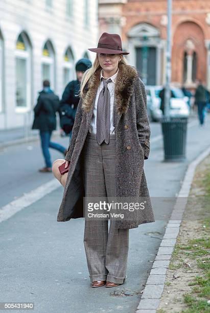Sarah Ann Murray outside Missoni during Milan Men's Fashion Week Fall/Winter 2016/17 on January 17 in Milan Italy