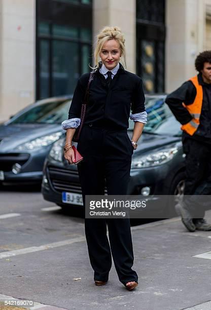 Sarah Ann Murray outside Valentino during the Paris Fashion Week Menswear Spring/Summer 2017 on June 22 2016 in Paris France