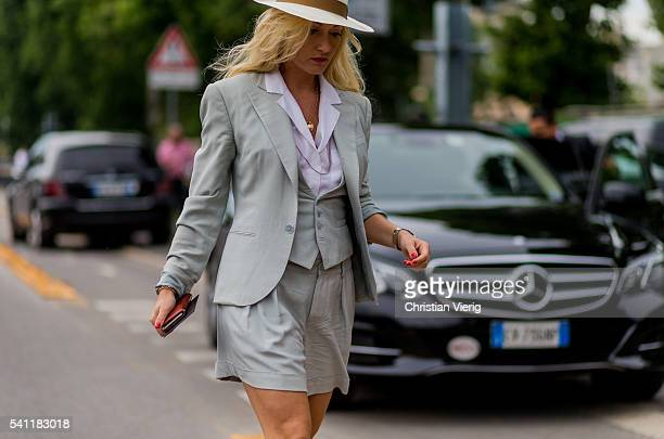 Sarah Ann Murray outside Versace during the Milan Men's Fashion Week Spring/Summer 2017 on June 18 2016 in Milan Italy