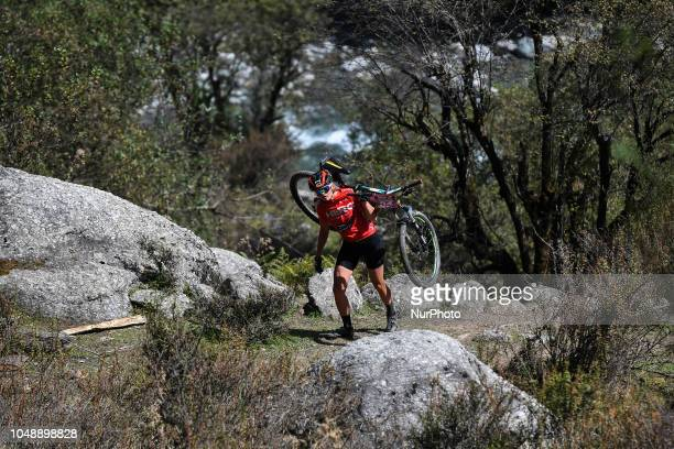 Sarah Appelt of Germany competes at the 14th edition of the Hero MTB Himalaya mountain bike race in the northern Indian state of Himachal Pradesh on...