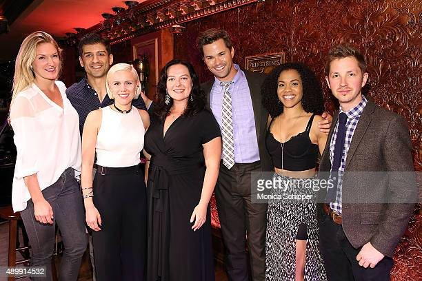 Sarah Arison Tony Yazbeck Grace Weber Zuzanna Szadkowski Andrew Rannells Alysha Deslorieux and Julian Pollack pose for a photo at YoungArts Awareness...