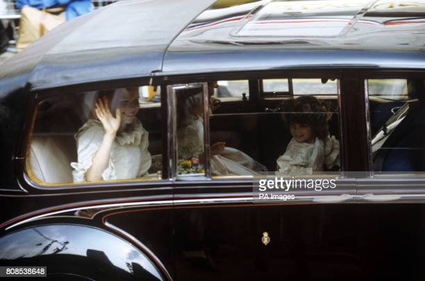 Sarah ArmstrongJones and Catherine Cameron two of the bridesmaids in a car on route to St Paul's Cathedral for the wedding of the Prince of Wales and...