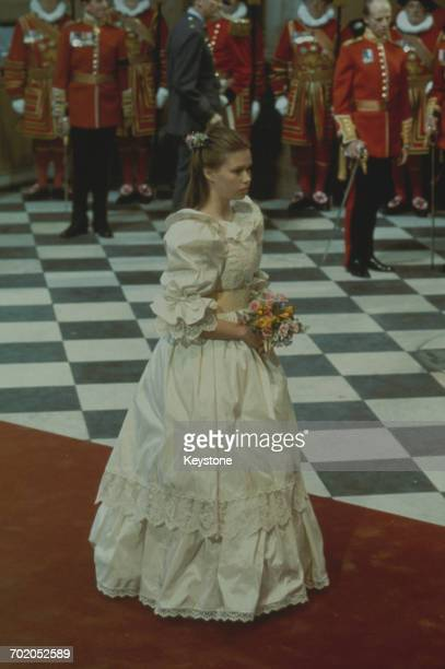 Sarah ArmstrongJones the daughter of Princess Margaret and the Earl of Snowdon as chief bridesmaid at the wedding of Charles Prince of Wales and Lady...