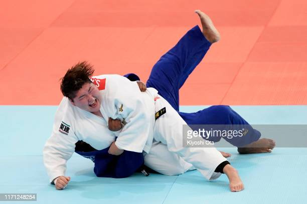 Sarah Asahina of Japan and Rochele Nunes of Portugal compete in the Women's +78kg Pool C second round on day seven of the World Judo Championships at...
