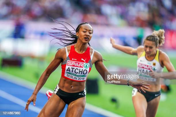 Sarah Atcho of  Switzerland during 200 meter semifinal for women at the Olympic Stadium in Berlin at the European Athletics Championship on August 10...