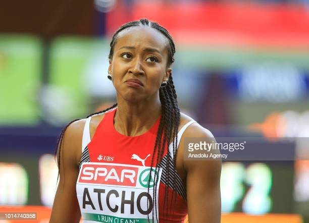 Sarah Atcho of Switzerland gestures after competing in the women's 200m semi final on the fifth day of 2018 European Athletics Championships in...