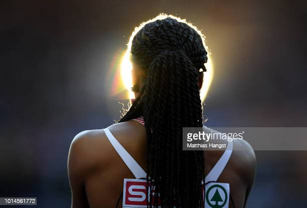 Sarah Atcho of Switzerland reacts after her heat of the Women's 200m Semi Final during day four of the 24th European Athletics Championships at...