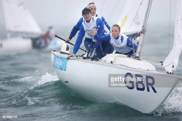 Sarah Ayton Sarah Webb and Pippa Wilson of Great Britain compete on their way to overall victory in the Yngling class at the Qingdao Olympic Sailing...