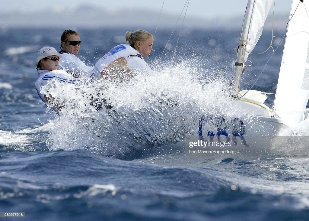 Sarah Ayton, Shirley Robertson, and Sarah Webb of Great Britain compete in the women's keelboat yngling race on August 16, 2004 during the Athens 2004 Summer Olympic Games at Agios Kosmas Olympic Sailing Centre in Athens, Greece.