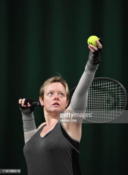 Sarah Bard takes part during the National Wheelchair Tennis Championships at The Shrewsbury Club on November 30 2019 in Shrewsbury England