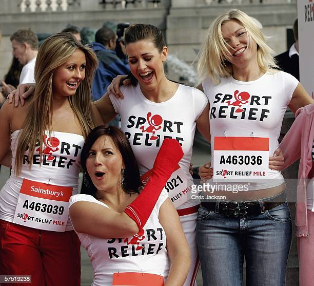 Sarah Barrand Davina McCall Kirsty Gallacher and Kate Thornton fool around as they Launch Sport Relief in Trafalgar Square on May 3 2006 in London...