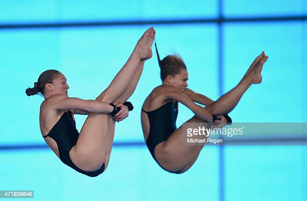Sarah Barrow and Tonia Couch of Great Britain compete in the Women's 10 meter synchro during the FINA/NVC Diving World Series at the Aquatics Centre...