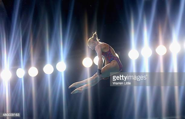 Sarah Barrow of Great Britain dives in the Women's 10m Platform semi final during day three of the FINA/NVC Diving World Series 2014 at the Hamdan...