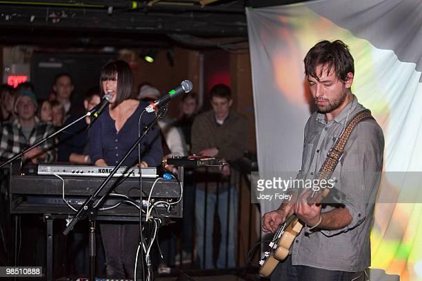 Sarah Barthel and Josh Carter of Phantogram perform at The Basement on April 16 2010 in Columbus Ohio