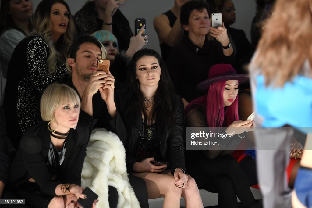 Sarah Barthel and Meredith O'Connor attend the Chromat collection front row during New York Fashion Week: The Shows at Gallery 3, Skylight Clarkson Sq on February 10, 2017 in New York City.