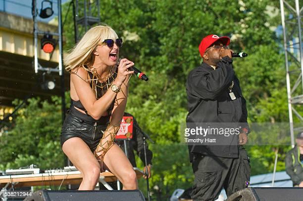 Sarah Barthel of Phantogram and Big Boi perform as part of Big Grams at the 2016 Bunbury Festival on June 4 2016 in Cincinnati Ohio