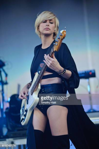 Sarah Barthel of Phantogram performs on day two of the 2017 Forecastle Festival on July 14, 2017 in Louisville, Kentucky.