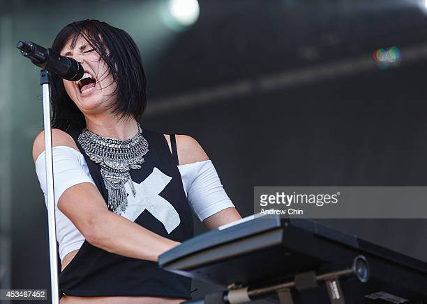 Sarah Barthel of Phantogram performs on stage during Day 3 of Squamish Valley Music Festival on August 10, 2014 in Squamish, Canada.