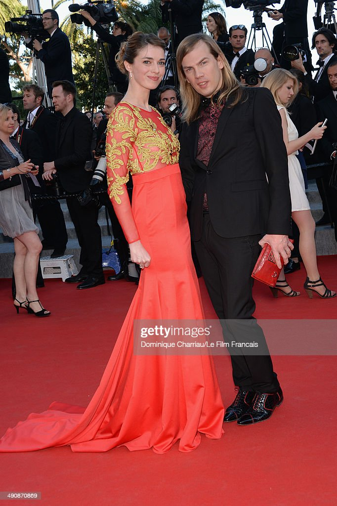 Sarah Barzyk and designer Christophe Guillarme attend the 'Mr.Turner' Premiere at the 67th Annual Cannes Film Festival on May 15, 2014 in Cannes, France.