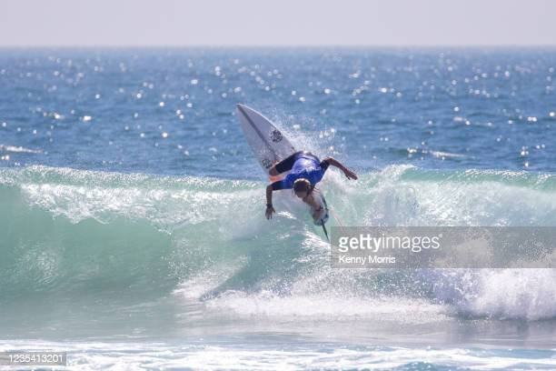 Sarah Baum of South Africa surfs in Heat 1 of the Round of 64 at the US Open of Surfing Huntington Beach presented by Shiseido on September 21, 2021...