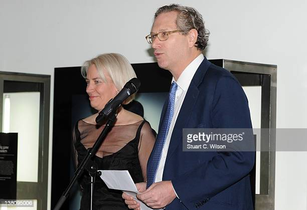 Sarah Baxter and John Witherow attend the Sunday Times Magazine 50th Anniversary Party at Saatchi Gallery on February 2 2012 in London England