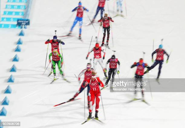 Sarah Beaudry of Canada competes during the Women's 4x6km Relay on day 13 of the PyeongChang 2018 Winter Olympic Games at Alpensia Biathlon Centre on...
