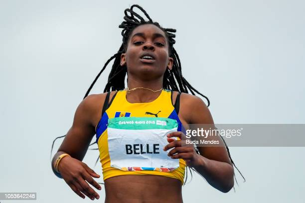 Sarah Belle of Barbados crosses the finish line in Women's 100m Hurdles heats during day 5 of Buenos Aires 2018 Youth Olympic Games at Youth Olympic...