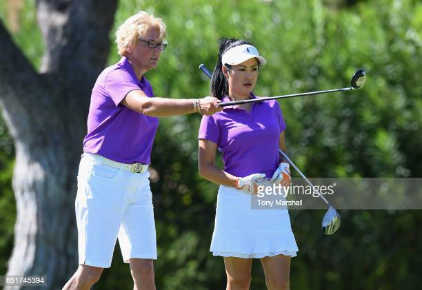 Sarah Bennett and Cherry Clarke of Three Rivers Golf Country Club line up their first shot on the 9th tee during The WPGA Lombard Trophy Final Day...
