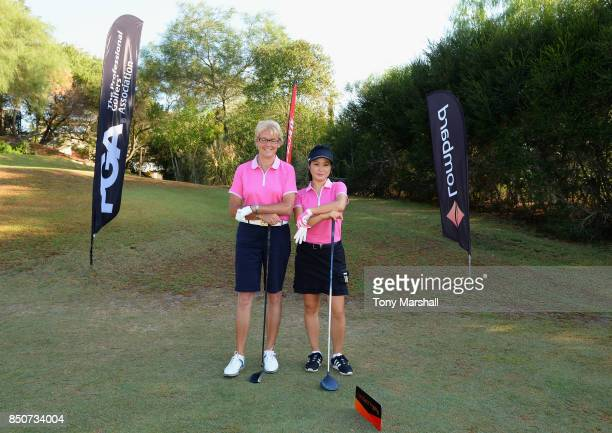 Sarah Bennett of Three Rivers Golf Country Club and Cherry Clarke of Three Rivers Golf Country Club pose on the 1st tee during The Lombard Trophy...