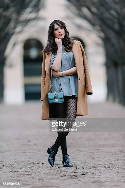 Sarah Benziane fashion and life style influencer from the blog Les Colonnes de Sarah is wearing a Zara brown long coat a Zara gray dress Zara black...