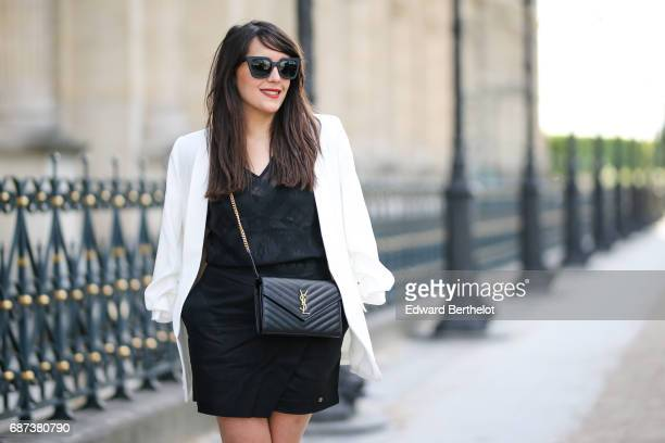 Sarah Benziane fashion blogger wears an IBP Women black lace suit dress a Zara white blazer jacket Mango multicolor floral print heels shoes and a...