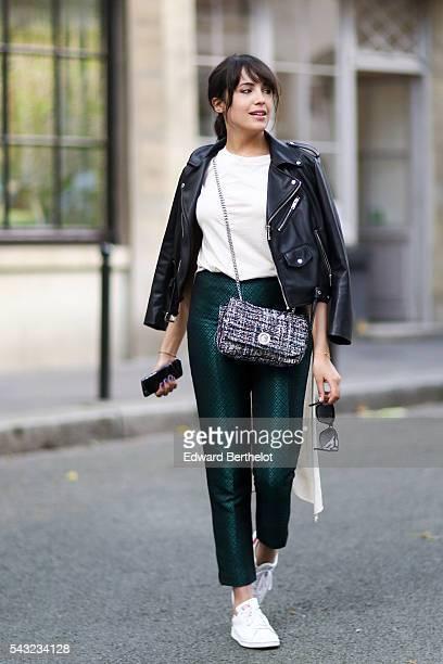 Sarah Benziane is wearing a Zara jacket a Bershka top a Zara bag Primark pants and Adidas Stan Smith shoes during Paris Fashion Week Menswear...