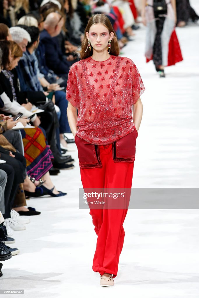 Sarah Berger walks the runway during the Valentino show as part of the Paris Fashion Week Womenswear Spring/Summer 2018 on October 1, 2017 in Paris, France.