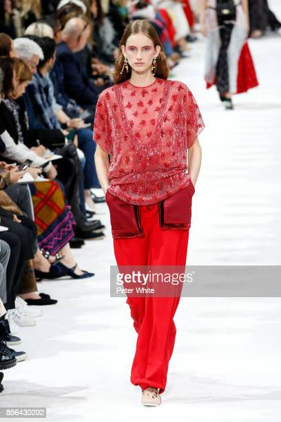 Sarah Berger walks the runway during the Valentino show as part of the Paris Fashion Week Womenswear Spring/Summer 2018 on October 1 2017 in Paris...