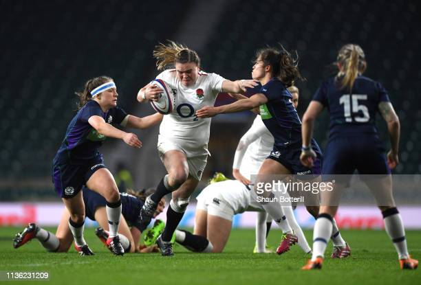 Sarah Bern of England breaks through the Scotland defense during the Women's Six Nations match between England Women and Scotland Women at Twickenham...
