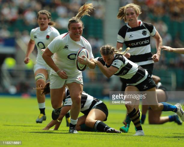 Sarah Bern of England charges upfield during the England Women v Barbarians Women match at Twickenham Stadium on June 02 2019 in London England