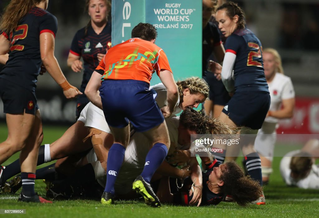 Sarah Bern of England crashes over the line to score the opening try during the Women's Rugby World Cup 2017 Semi Final match between England and France at the Kingspan Stadium on August 22, 2017 in Belfast, United Kingdom.