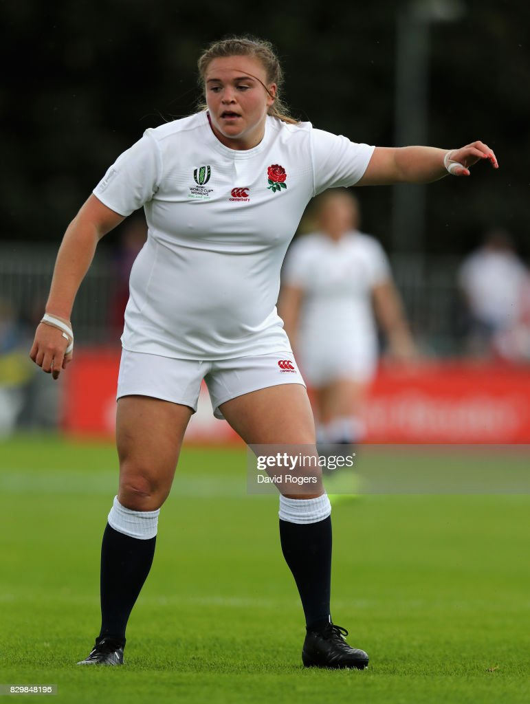 Sarah Bern of England looks on during the Women's Rugby World Cup 2017 Group B match between England and Spain at the UCD Bowl on August 9, 2017 in Dublin, Ireland.