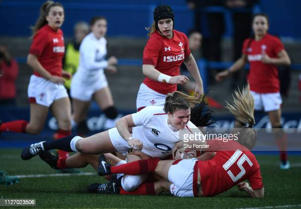Sarah Bern of England touches down for the first try during the Wales Women v England Women match in the Women's Six Nations at Cardiff Arms Park on...