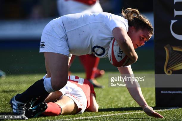 Sarah Bern of England touches down for the fourth try during the Wales Women and England Women match in the Women's Six Nations at Cardiff Arms Park...