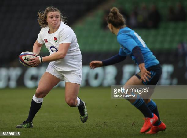 Sarah Bern of England Women in action during the Womens Six Nations match between England Women and Italy Women at Twickenham Stoop on February 25...