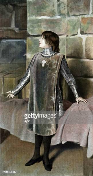 Sarah Bernhardt as Joan of Arc in play Le proces de Jeanne d'Arc Paris photo by Henri Manuel from french paper Le Theatre december 11 1909
