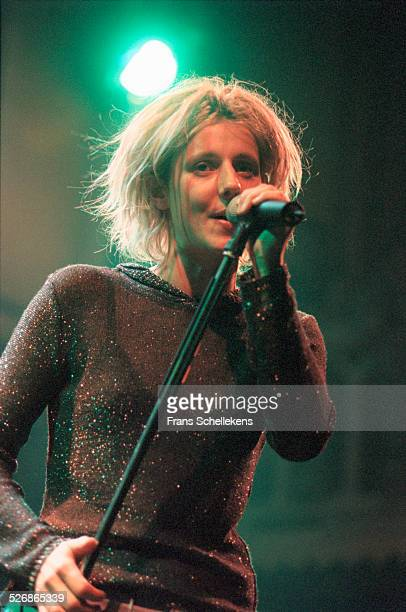 Sarah Bettens, vocal, performs with K's Choice at the Paradiso on March 1st 1999 in Amsterdam, Netherlands.