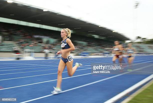 Sarah Billings of Victoria competes in the womens under 20s 800m on day three of the 2017 Australian Athletics Championships at Sydney Olympic Park...