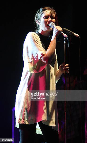Sarah Blasko performs on stage during day one of the One Movement Music Festival on the banks of the Swan River on October 17 2009 in Perth Australia