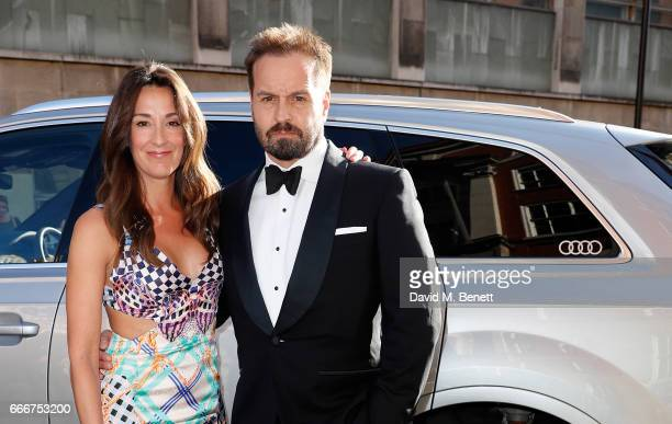 Sarah Boe and Alfie Boe arrive in an Audi at the Olivier Awards at Royal Albert Hall on April 9 2017 in London England