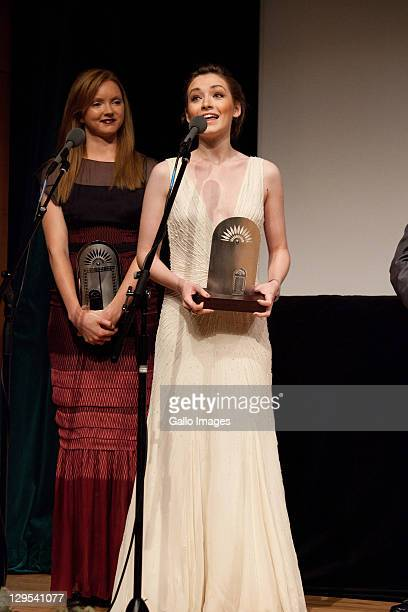 Sarah Bolger and Lily Cole thanking for their Black Pearl Rising Star Award Abu Dhabi Film Festival Day four on October 16 2011 in Abu Dhabi Theatre